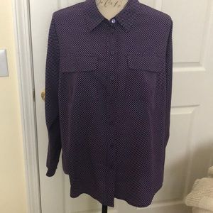 Purple with white dots button down shirt